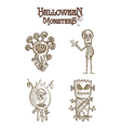 Halloween monsters scary sketch style cartoons set vector image