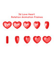heart love valentine day 3d rotation animation vector image