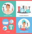 hygiene square compositions set vector image