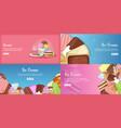 ice cream banner set template cartoon style vector image