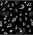 musical notes pattern retro sound dark background vector image vector image