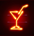neon cocktail city sign signboard vector image vector image