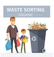 organic waste recycling - modern cartoon people vector image