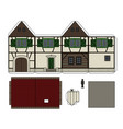 paper model of an old half timbered house vector image