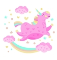 Rainbow And Unicorn Funny Girly Drawing vector image vector image