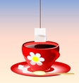red cup of tea vector image vector image