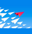 red paper airplane as a leader vector image vector image