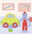 robot in the car service vector image vector image