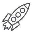 rocket line icon transportation and space vector image vector image