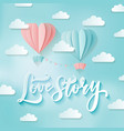 romance two heart shaped hot air balloons in the vector image vector image