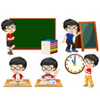 schoolboy doing different actions at school vector image vector image