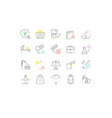 set line icons extraction minerals vector image