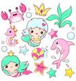 set mermaid icons in kawaii style vector image vector image