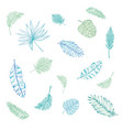 set of palm leaves silhouettes isolated on white vector image vector image
