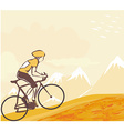 Sport road bike bicycle rider in wild nature vector image