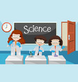 student experiment in chemistry class vector image vector image