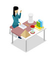 teacher teaching painting isometric 3d icon vector image vector image