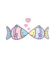tropical couple fish animals with hearts vector image