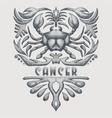 vintage cancer zodiac vector image vector image