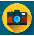 Vintage photo camera icon with long shadow Flat vector image vector image