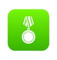 winning medal icon digital green vector image vector image