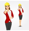 woman architect with blueprints vector image