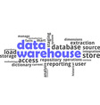 word cloud data warehouse vector image vector image