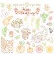 set of outlined Thanksgiving design elements vector image
