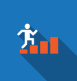Businessman rises up on business diagram vector image