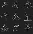 set of black and white sport icons vector image