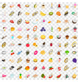 100 fruits icons set isometric 3d style vector image vector image