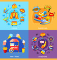 amusement park 4 flat icons square vector image vector image