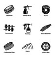 auto worker icons set simple style vector image vector image