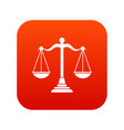 balance scale icon digital red vector image vector image