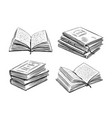 books collection school study concept hand vector image