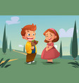 boy giving flower to a girl vector image vector image