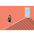 Business woman stepping up a staircase to success vector image vector image