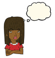 cartoon girl with folded arms with thought bubble vector image vector image