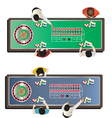 Casino furniture roulette table top view set 1 vector image vector image