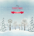 Christmas winter landscape with lampposts vector image
