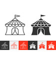 circus tent simple black line icon vector image