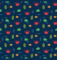 Cute crab and fishes seamless pattern cartoon