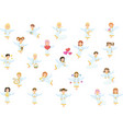 cute ngels silhouettes set on white background vector image vector image