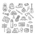 doodle camping hiking camp natural wood scout vector image