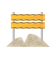 drawing barrier under construction road sand vector image vector image