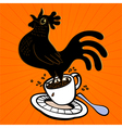 Espresso cartoon rooster springing from coffee cup vector image vector image