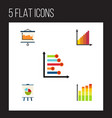 flat icon graph set of statistic diagram vector image