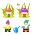 Forest gnomes and mushroom houses vector image vector image