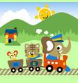 funny animals cartoon on train