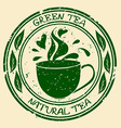 Green tea stamp with cup vector image